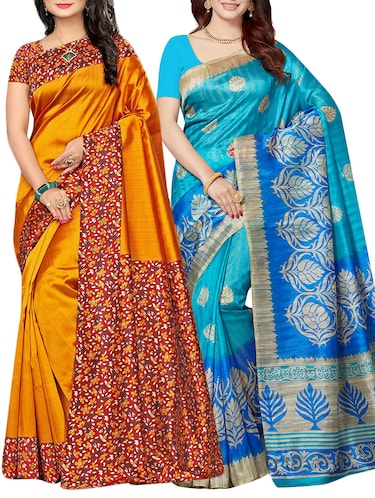 set of 2 multicolor silk blend printed saree combo with blouse - 15176567 - Standard Image - 1