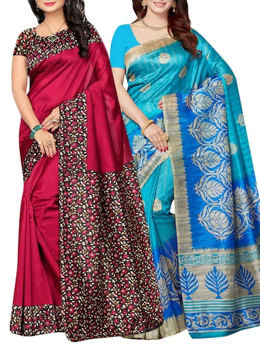 set of 2 multicolor silk blend printed saree combo with blouse - 15176577 - Standard Image - 1