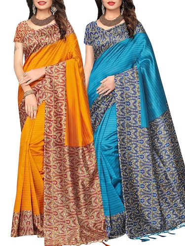 set of 2 multicolor silk blend printed saree combo with blouse - 15176579 - Standard Image - 1