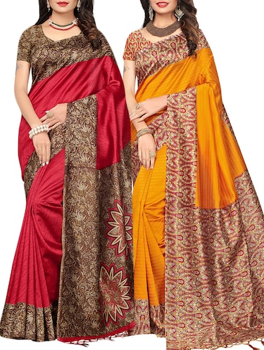 set of 2 multicolor silk blend printed saree combo with blouse - 15176580 - Standard Image - 1