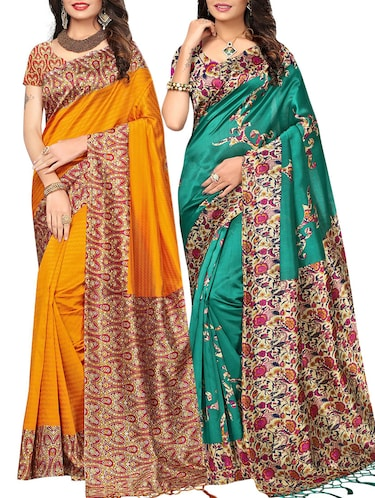 set of 2 multicolor silk blend printed saree combo with blouse - 15176582 - Standard Image - 1