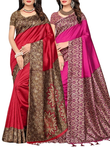 set of 2 multicolor silk blend printed saree combo with blouse - 15176588 - Standard Image - 1