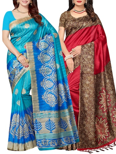 set of 2 multicolor silk blend printed saree combo with blouse - 15176605 - Standard Image - 1