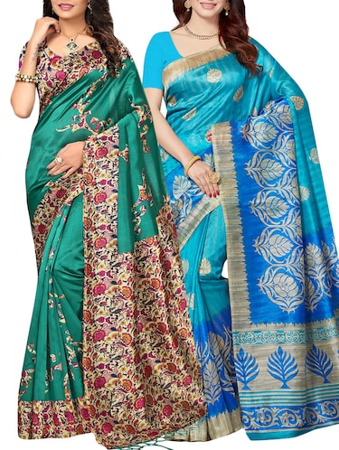 set of 2 multicolor silk blend printed saree combo with blouse - 15176613 - Standard Image - 1