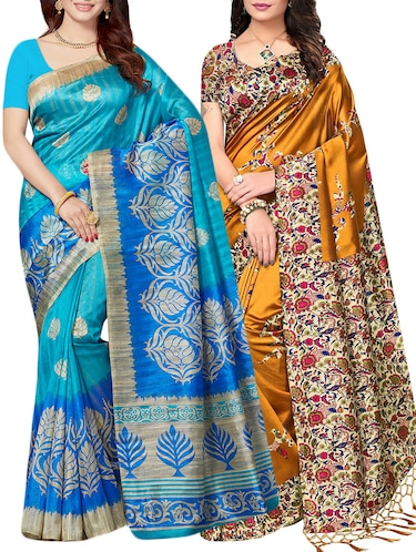 set of 2 multicolor silk blend printed saree combo with blouse - 15176616 - Standard Image - 1