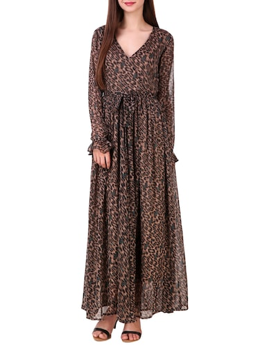 brown printed chiffon maxi dress - 15176704 - Standard Image - 1