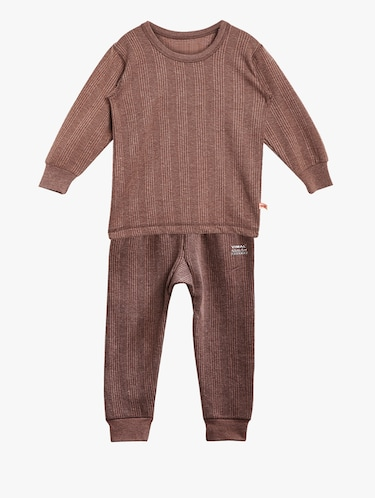brown cotton blend thermal set - 15176741 - Standard Image - 1