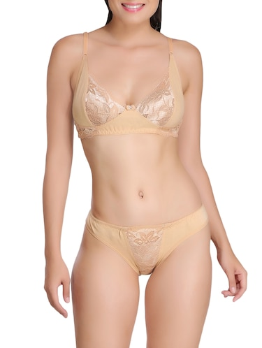 Gold solid rayon bras and panty set - 15176839 - Standard Image - 1