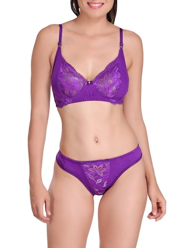 purple solid rayon bras and panty set - 15176840 - Standard Image - 1