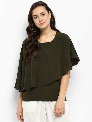 Olive green solid layered top - 15177092 - Standard Image - 1