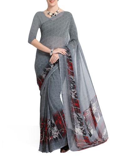 grey georgette printed saree with blouse - 15177157 - Standard Image - 1