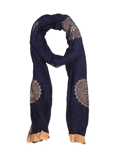 blue cotton printed dupatta - 15177187 - Standard Image - 1