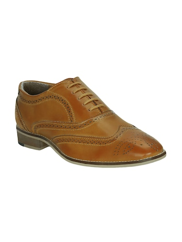 tan leatherette lace-up brouge - 15177348 - Standard Image - 1