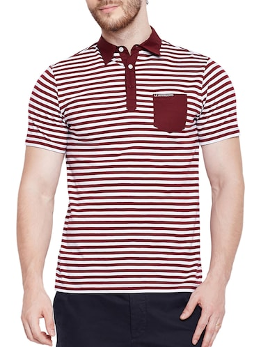 maroon cotton pocket t-shirt - 15178449 - Standard Image - 1