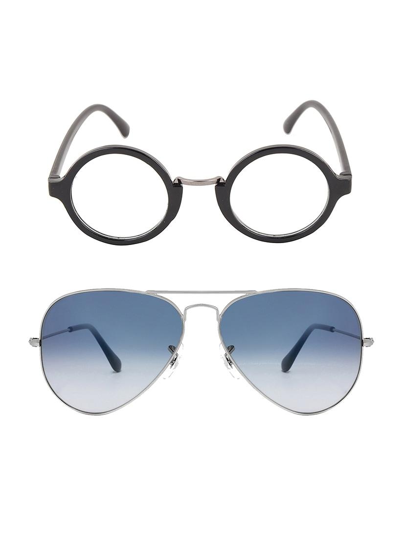 6f67d3911d8 ... Aventus Stylish Sunglasses Combo-Gradient Blue Aviator Sunglasses    Clear Round Sunglasses for Men Women
