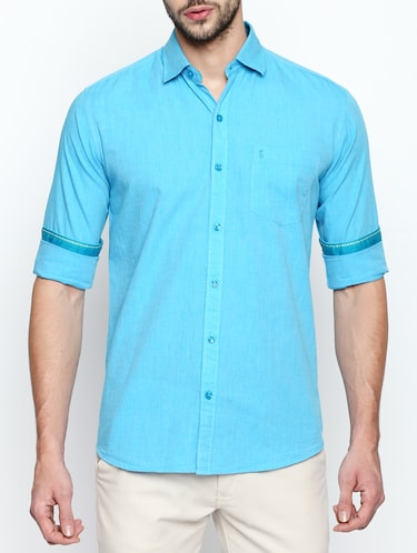 turquoise cotton casual shirt - 15180283 - Standard Image - 1