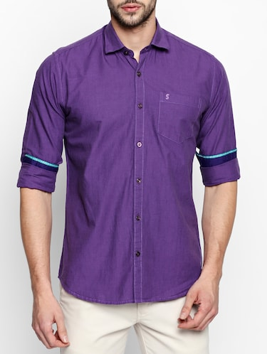 purple cotton casual shirt - 15180284 - Standard Image - 1