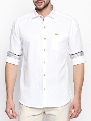 white cotton linen casual shirt - 15180286 - Standard Image - 1