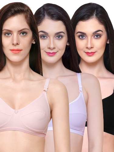 Set of 3 multi colored solid bras - 15181669 - Standard Image - 1