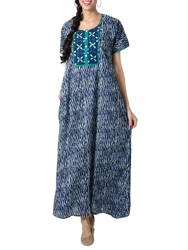 Buy Blue Cotton Printed Nightwear Gown by Maybell - Online shopping ... 0a35e07d3