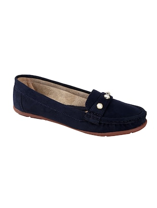 blue faux leather slip on loafers - 15183850 - Standard Image - 1
