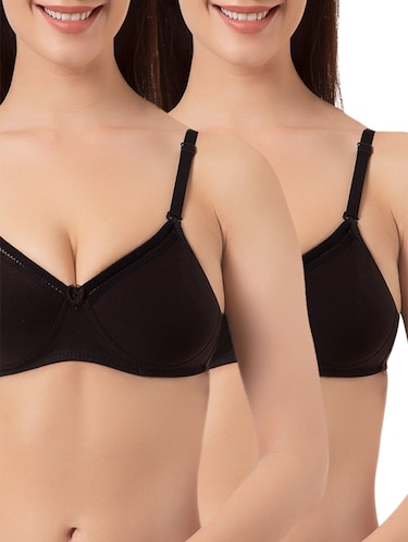 set of 2 black solid lycra  bra - 15186549 - Standard Image - 1
