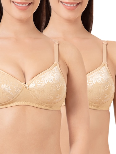 set of 2 beige solid bras - 15186557 - Standard Image - 1