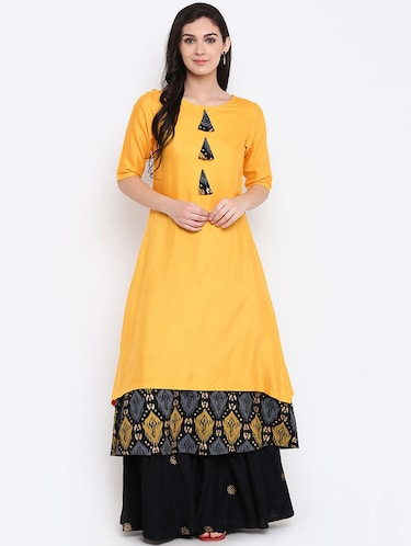 Layered kurta with palazzo set - 15186824 - Standard Image - 1