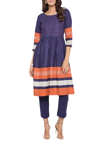 flared embroidered kurta - 15187005 - Standard Image - 1