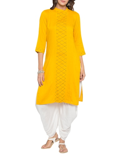 Bright yellow embroidered kurta - 15187108 - Standard Image - 1