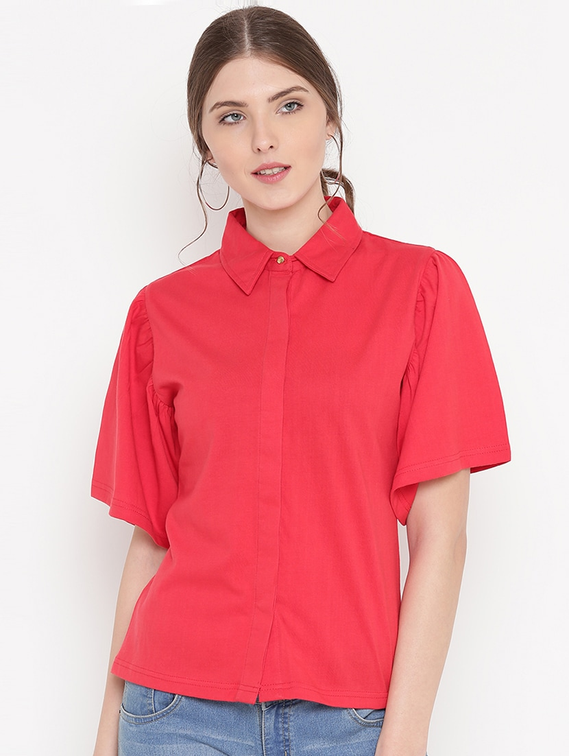 Gritstones solid red cotton short sleeves shirt