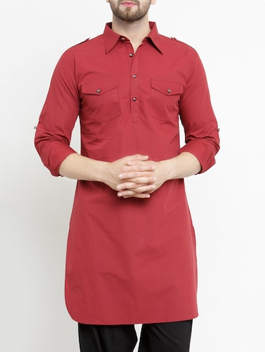 red cotton pathani kurta - 15204749 - Standard Image - 1