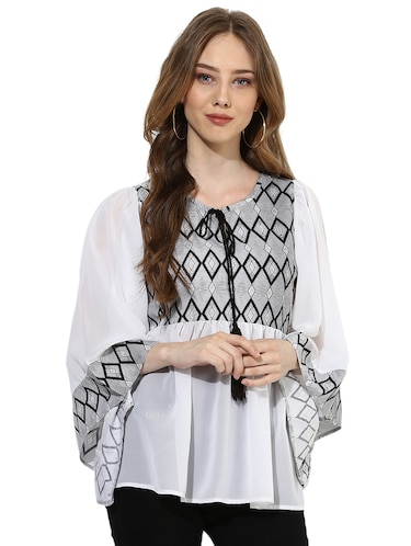 09ba44126b4a9 Buy Bohemian Tie Neck Bell Sleeved Top for Women from Color Cocktail ...