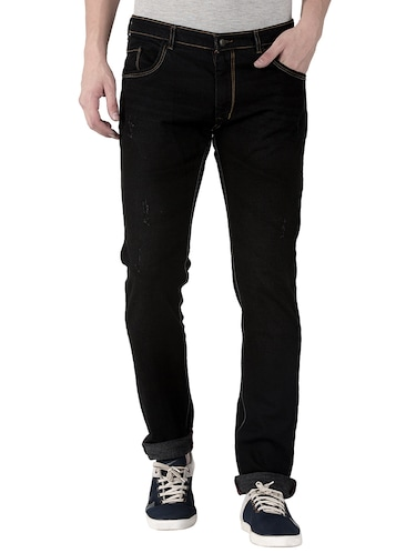 black cotton plain jeans - 15214715 - Standard Image - 1