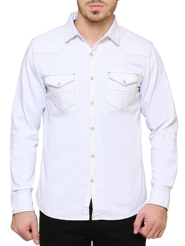 white denim casual shirt - 15218648 - Standard Image - 1
