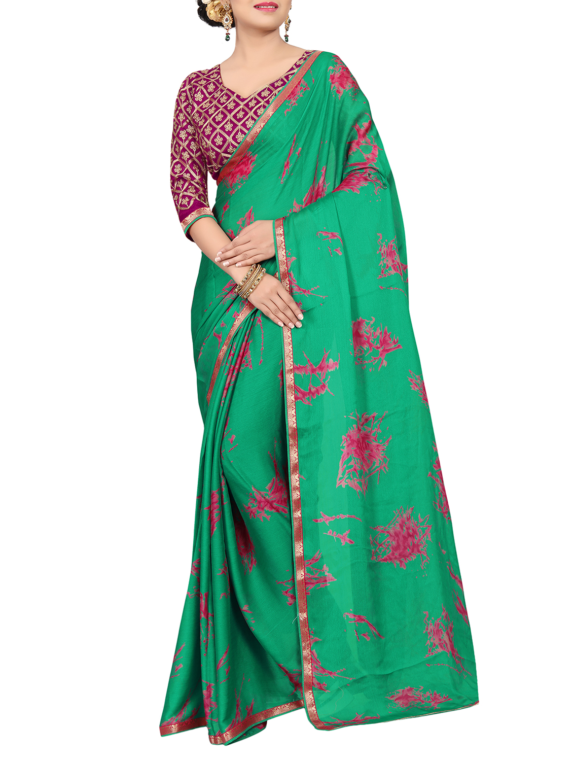 18feb41c24 ... green silk printed saree with blouse - 15235230 - Zoom Image - 1