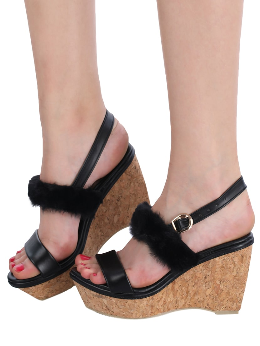 ecc9ff6612a4 Buy Black Back Strap Wedge by London Steps - Online shopping for Wedges in  India
