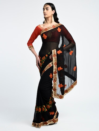 8a9cd3576fa Buy Thread Embroidered Black Saree With Blouse by Aman Creation ...