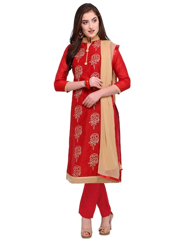Red embroidered unstitched churidaar suit - 15263537 - Standard Image - 1