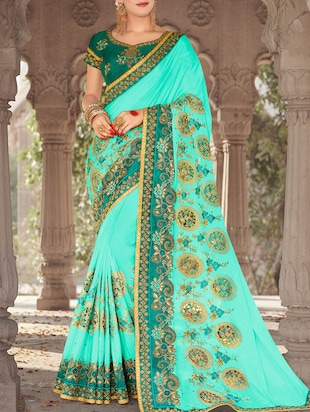 zari embroidered saree with blouse - 15268123 - Standard Image - 1