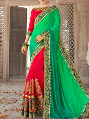 Zari half and half saree with blouse - 15268124 - Standard Image - 1