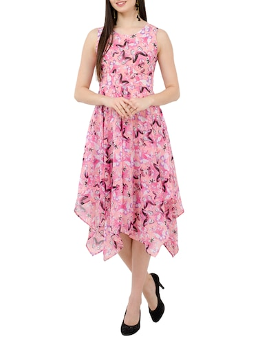 Round Neck Floral asymmetric dress - 15273730 - Standard Image - 1