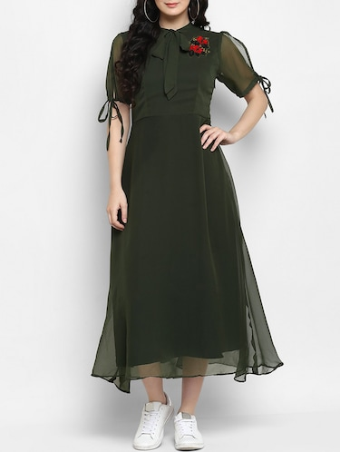 green embroidered a-line dress - 15277621 - Standard Image - 1