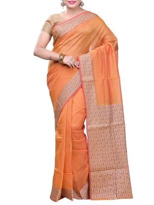 Contrast bordered saree with blouse - 15293191 - Standard Image - 1