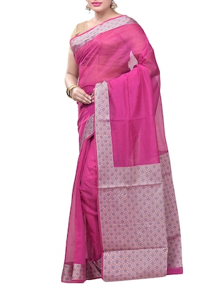 Contrast bordered saree with blouse - 15293199 - Standard Image - 1