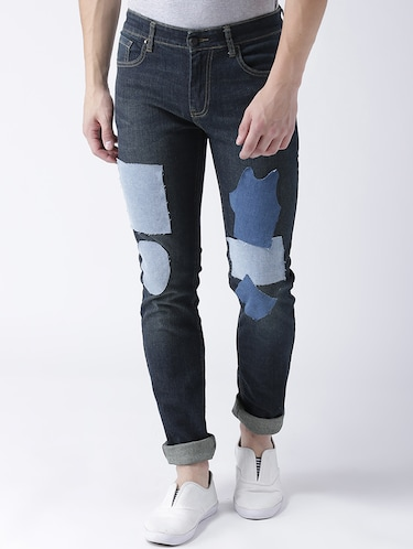 blue denim patched jeans - 15293435 - Standard Image - 1