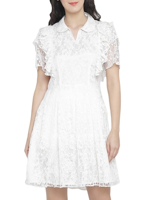 frill detail net fit & flare dress - 15301127 - Standard Image - 1