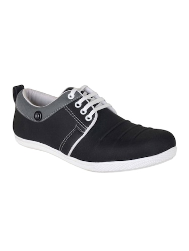 black Canvas lace up sneaker - 15301594 - Standard Image - 1