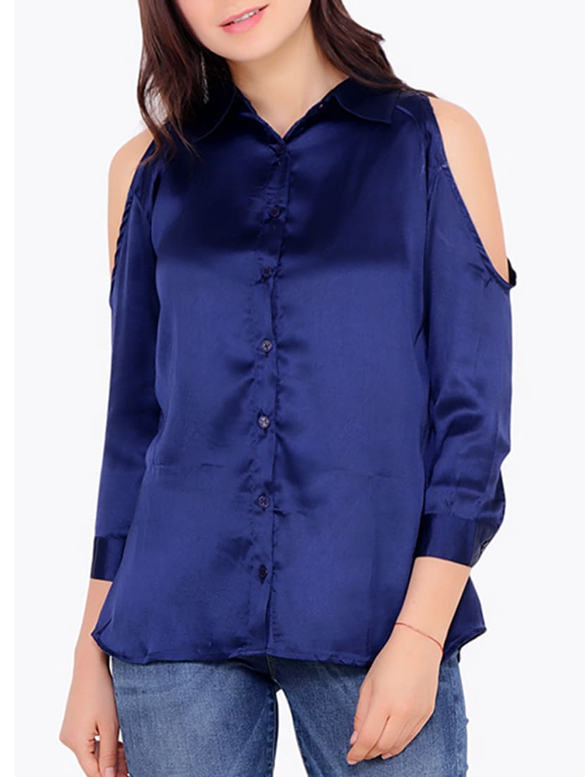 b0f72076cf49b Buy Cold Shoulder Shirt by Cation - Online shopping for Shirts in ...