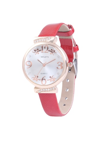Skylofts Shiny Strap Red Watches For Girls Women Birthday Gifts Girlfriend